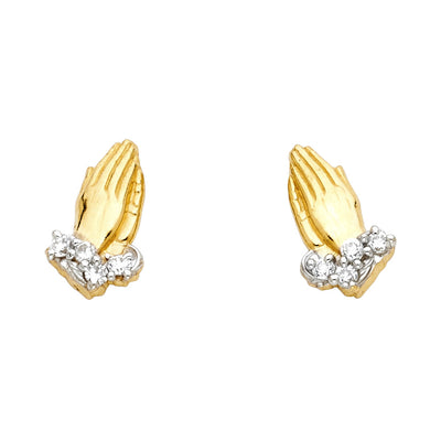 14K Gold PRAY Hand CZ Stone Post Earrings