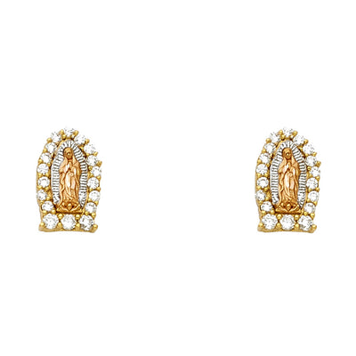 14K Gold Guadalupe CZ Stone Post Earrings