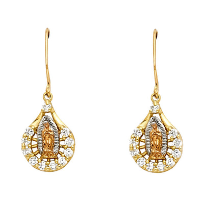 14K Gold Hanging CZ Stone Guadalupe Earrings