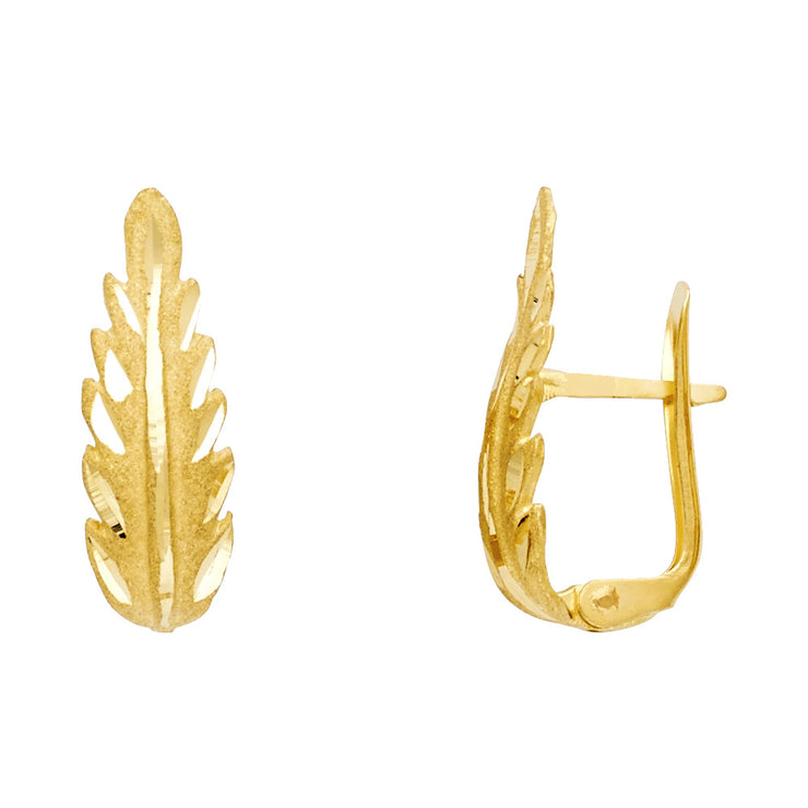 14K Gold Diamond Cut Leaf U Shape Earrings