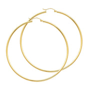 14K Gold 2mm Hoops