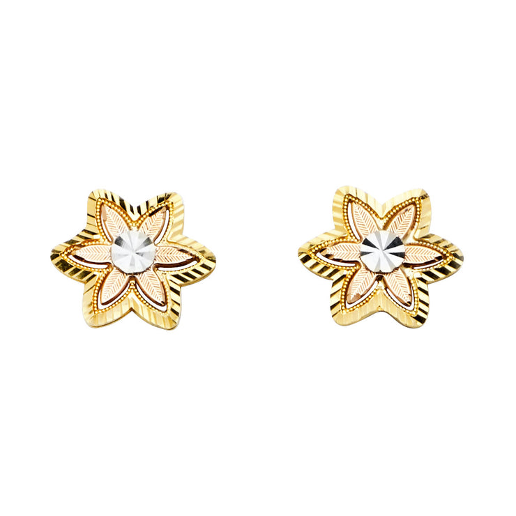 14K Gold Flower Post Earrings