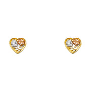 14K Gold Heart Flower Post Earrings