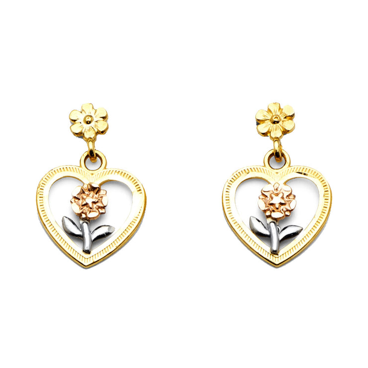 14K Gold Hanging Heart Post Earrings