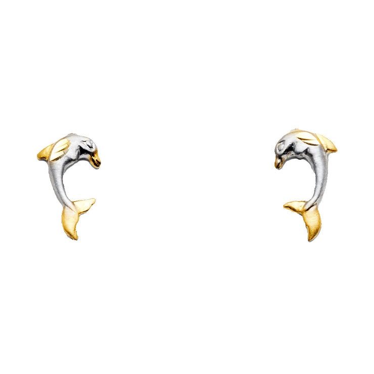14K Gold Dolphin Post Earrings
