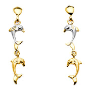 14K Gold Hanging Dolphin Post Earrings