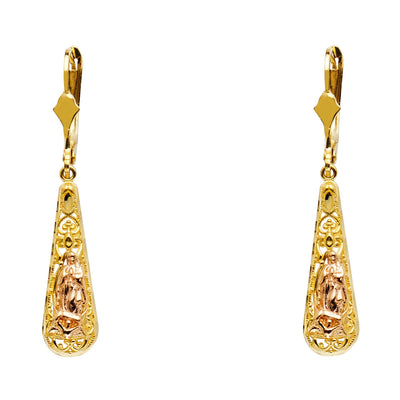 14K Gold Our Lady of Guadlupe Teardrop Hanging Earrings