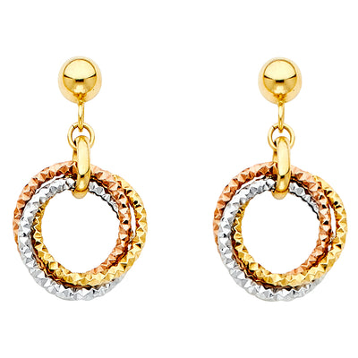 14K Gold Hanging 3 Triple  Rings Hoop Earrings