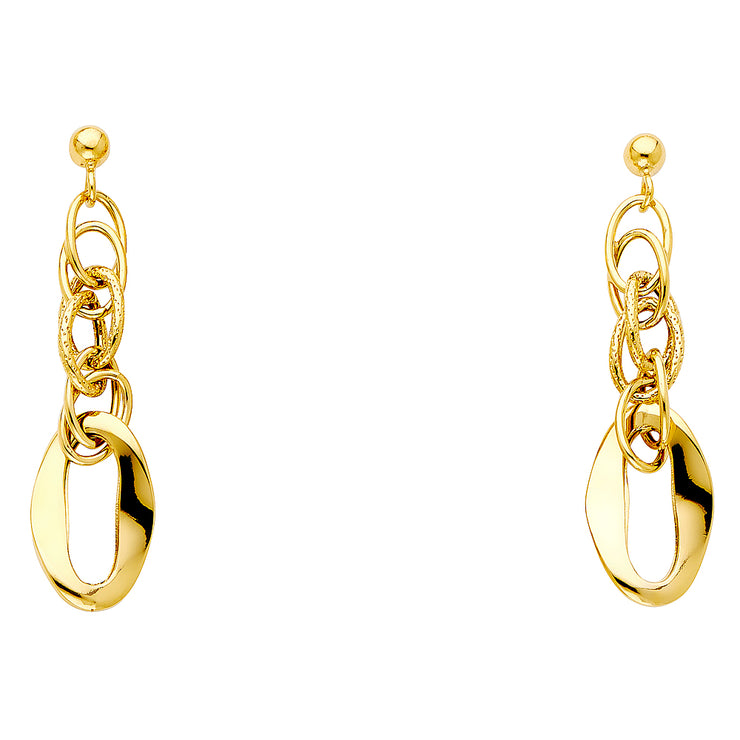 14K Gold Fancy Hollow Earrings