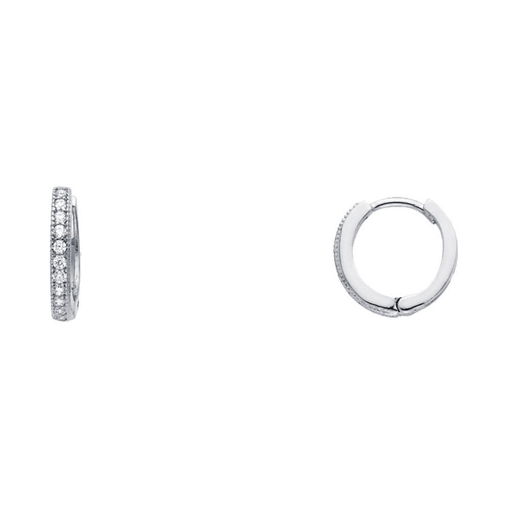 14K Gold RD CZ Stone Pave Huggie Hoops