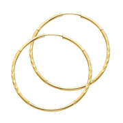 14K Gold 1.5mm Diamond Cut Satin Dual Finish Hoops