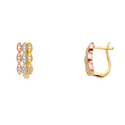 14K  Gold 3 Row CZ Stone Fancy Huggie Hoops