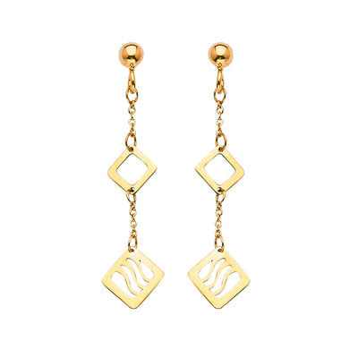 14K Gold Fancy Double Square Dangle Earrings