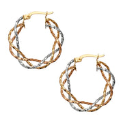 14K Gold Braided Hoops