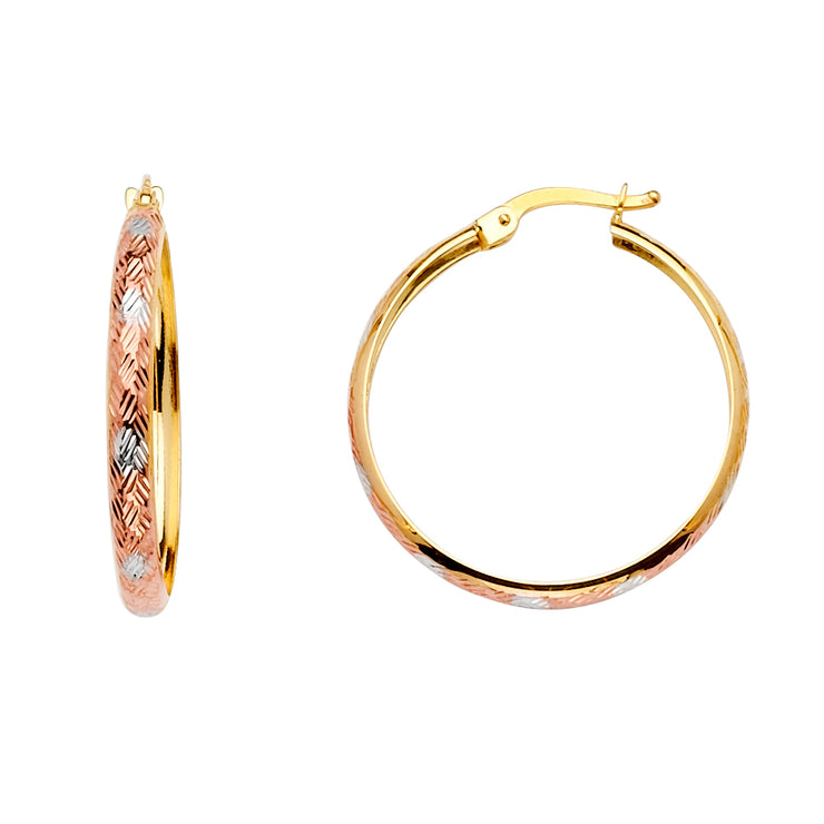 14K Gold Diamond Cut H-Dome Hoops