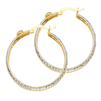 14K Gold Greek Design Hoops