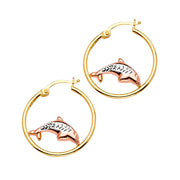 14K Gold Dolphin Hoops