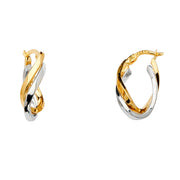 14K Gold 2 Line Twisted Hoops