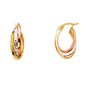 14K Gold 3 Line Twisted Hoops