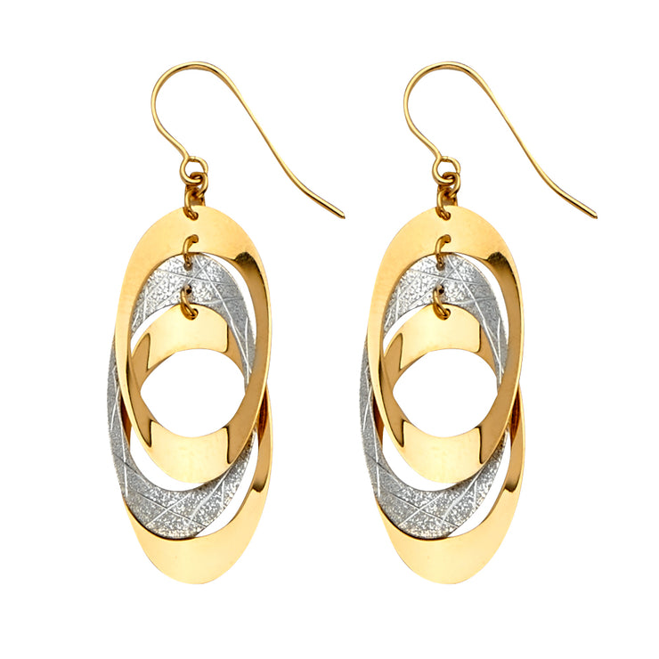 14K Gold Fancy Oval Dangling Drop Hanging Earrings