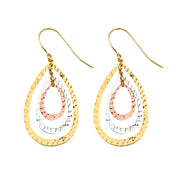 14K Gold Fancy Pear Dangling Drop Hanging Earrings