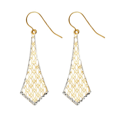 14K Gold Fancy Dangling Drop Hanging Earrings