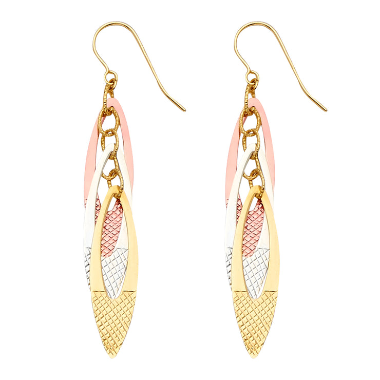 14K Gold Fancy Leaf Dangling Drop Hanging Earrings
