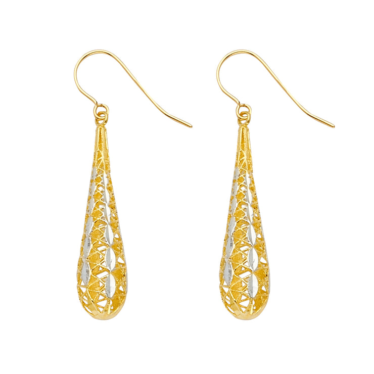 14K Gold Fancy Filgree Tear Drop Dangling Hanging Earrings