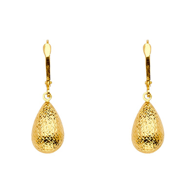 14K Gold Diamond Cut Tear Drop Hanging Earrings