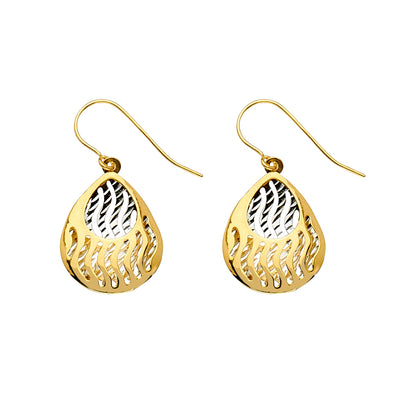 14K Gold Fancy Pear Drop Hanging Earrings