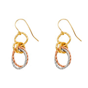 14K Gold Wired Dangling Hanging Earrings