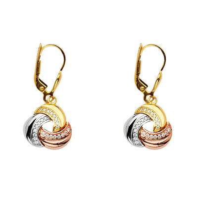 14K Gold CZ Stone Eternity Dangle Drop Hinged Hanging Earrings