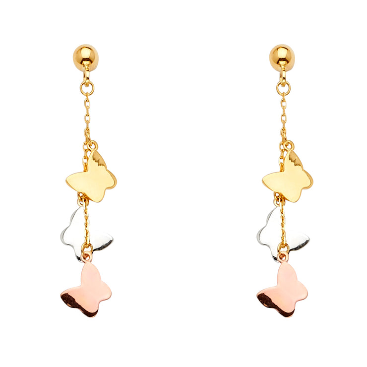 14K Gold 3 Butterflies Dangle Earrings