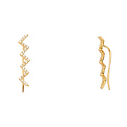 14K Gold CZ Stone Fancy Clip Style Earrings