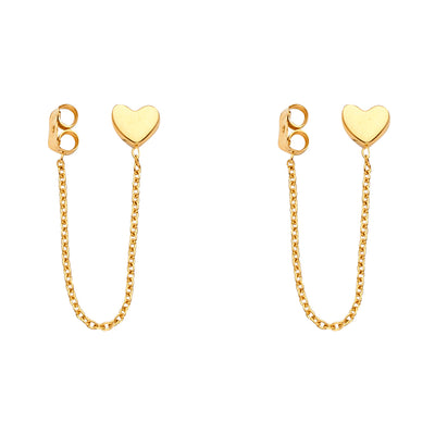 14K Gold Punk Fancy Heart Hanging Chain Earrings