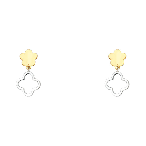 14K Gold Fancy Double Clover Earrings