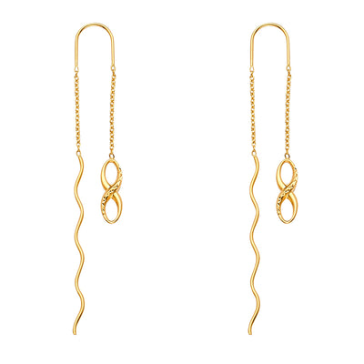 14K Gold Fancy Infinity Front & Back Chain Dangle Earrings