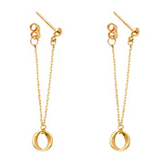 14K Gold Fancy Omega Front & Back Chain Dangle Earrings