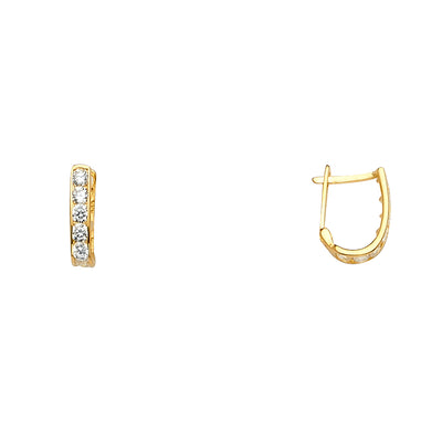 14K Gold CZ Stone Channel Huggie Hoops