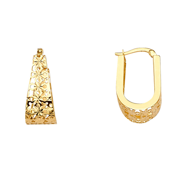14K Gold Filigree U-Shape Earrings