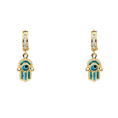 14K Gold CZ Stone Hamsa Dangle Huggie Hoops