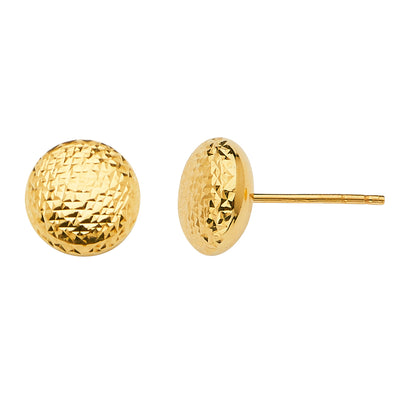 14K Gold Diamond Cut Flat Round Ball Earrings
