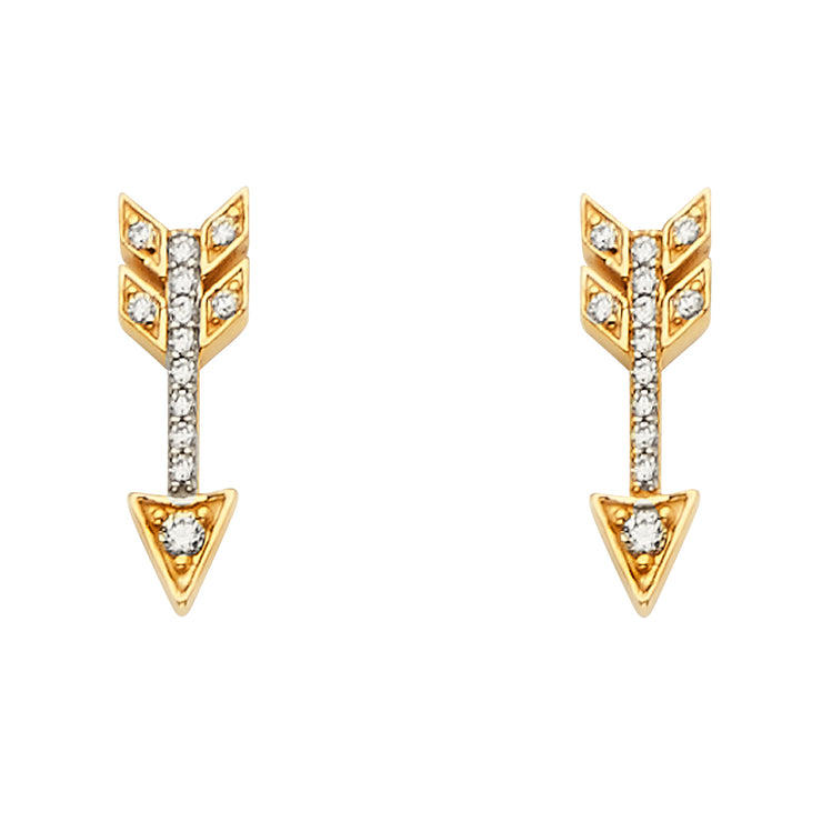14K Gold CZ Stone Arrow Earrings