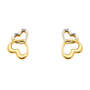 14K Gold Two or Double Hearts Earrings