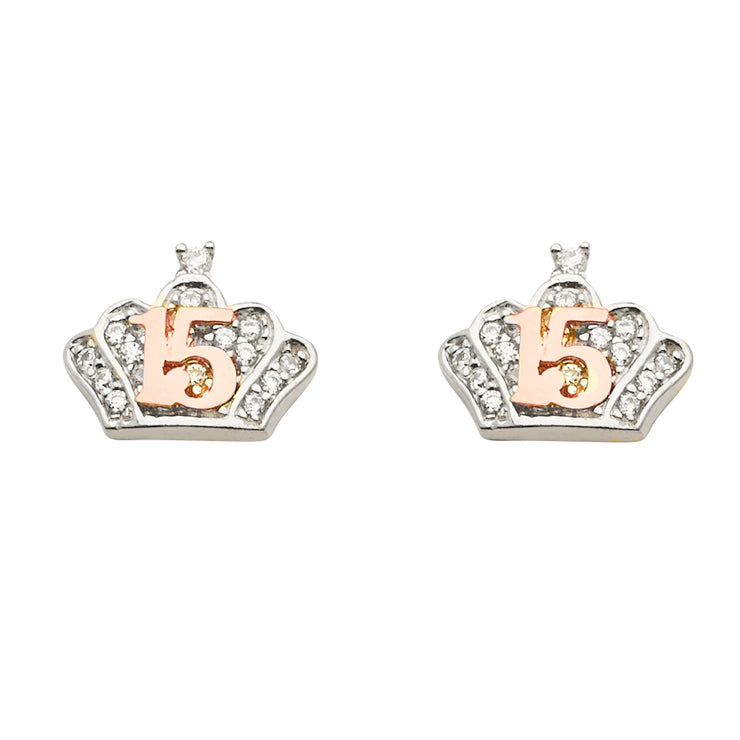 14K Gold CZ Stone Tiara Crown Quinceanera Earrings