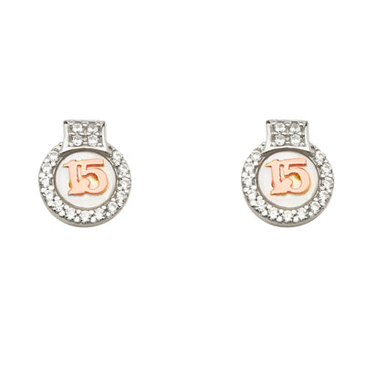14K Gold CZ Stone Round 15 Anos 15 Years Quinceanera Earrings
