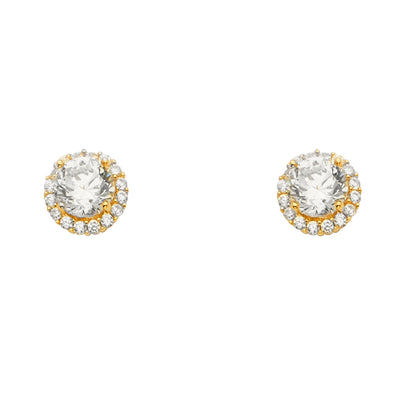 14K Gold CZ Stone Solitare Halo Round Earrings