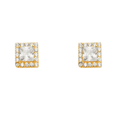 14K Gold CZ Stone Solitare Halo Square Earrings