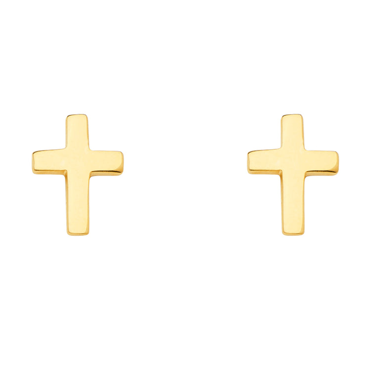 14K Gold Religious Cross Earrings