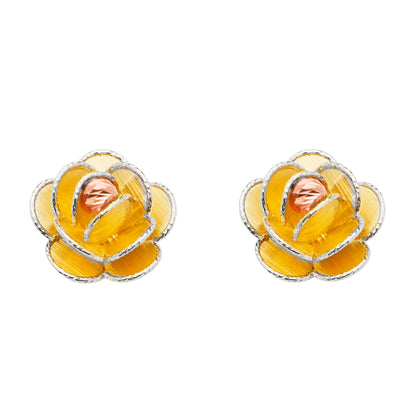 14K Gold Rose Flower With Petals Earrings